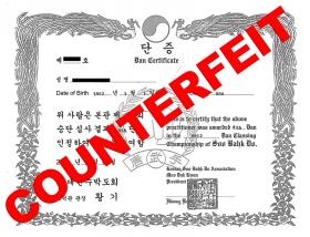 Counterfeit Moo Duk Kwan Soo Bahk Do Certificate