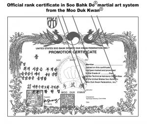 Moo Duk Kwan Certificate Registered BW